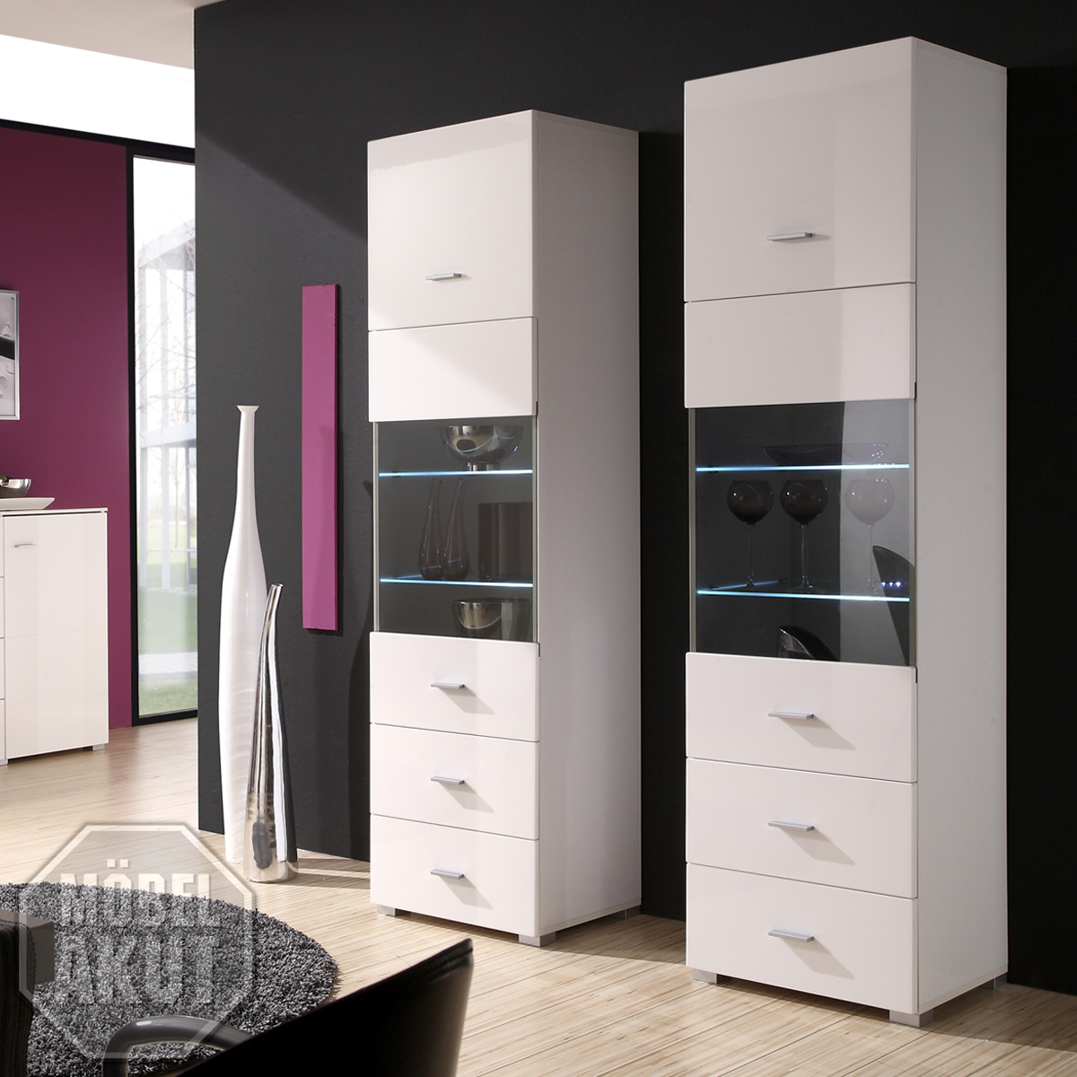 vitrine snoop schrank wei hochglanz inkl led beleuchtung ebay. Black Bedroom Furniture Sets. Home Design Ideas
