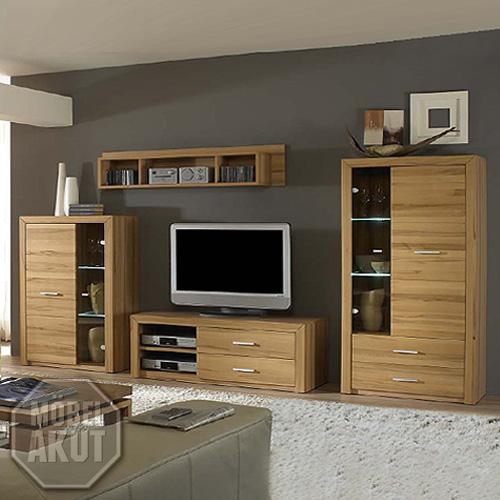 wohnwand home kern buche massiv mit led neu ebay. Black Bedroom Furniture Sets. Home Design Ideas