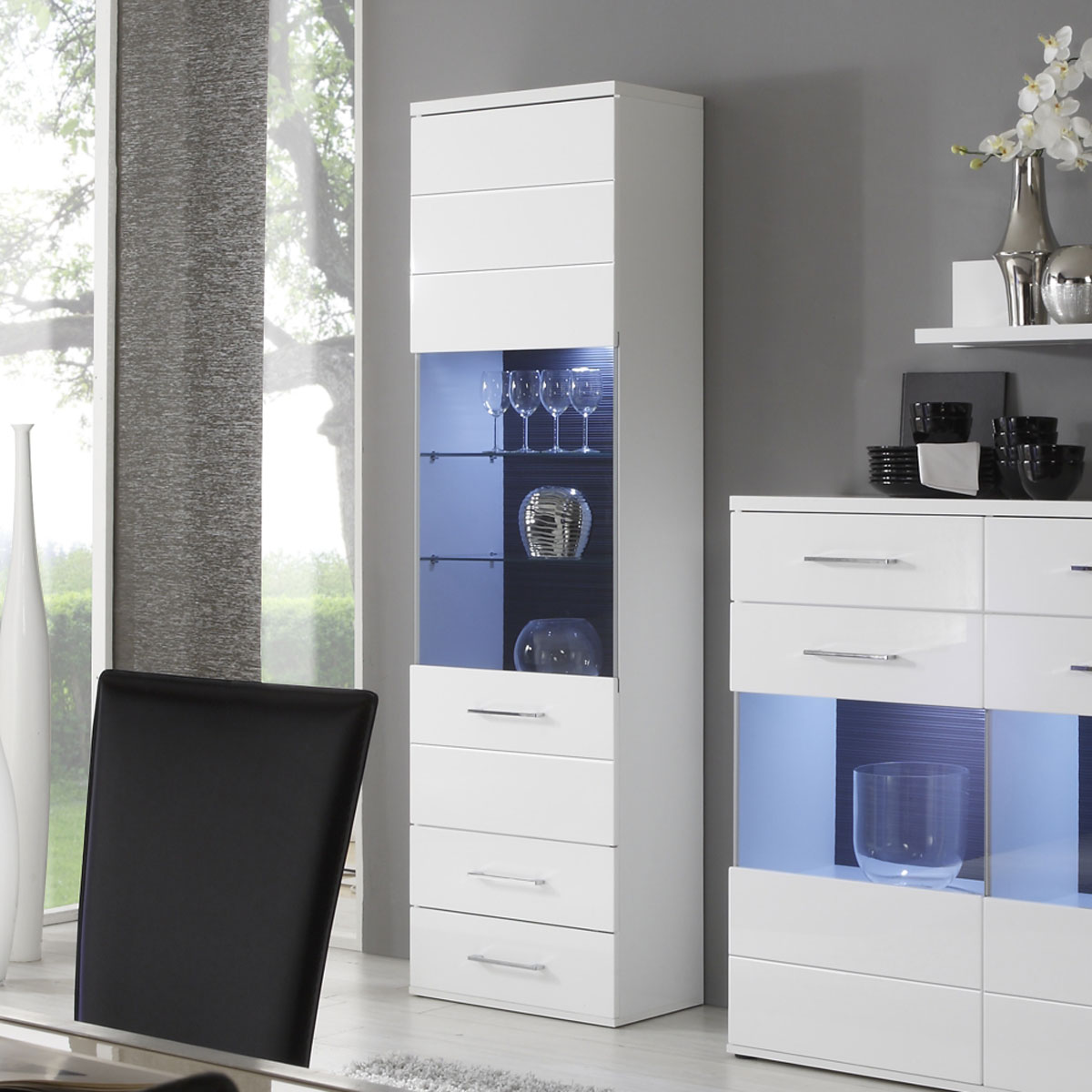 vitrine lens wohnzimmer schrank in wei gl nzend 1 glast r mit led ebay. Black Bedroom Furniture Sets. Home Design Ideas