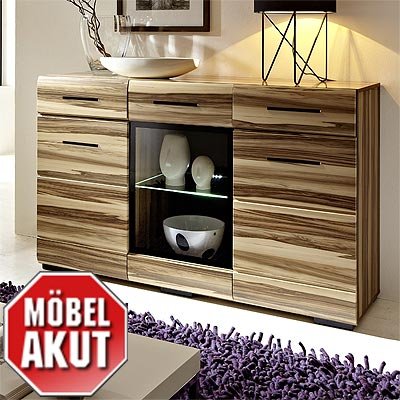 sideboard accento in baltimore walnuss inkl led ebay. Black Bedroom Furniture Sets. Home Design Ideas