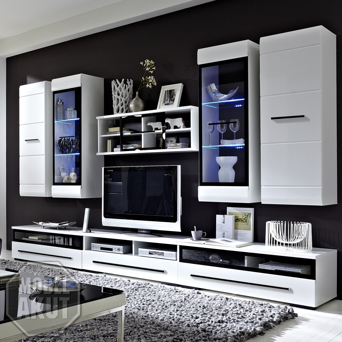 wohnwand accento in mdf wei hochglanz inkl led eur 466 00 picclick de. Black Bedroom Furniture Sets. Home Design Ideas