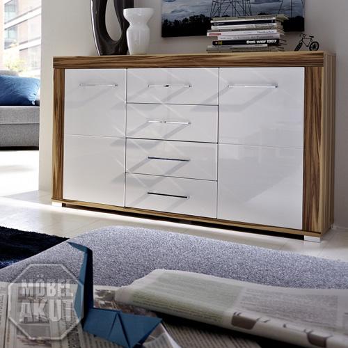sideboard zento wei hochglanz baltimore walnuss eur 189 95 picclick de. Black Bedroom Furniture Sets. Home Design Ideas