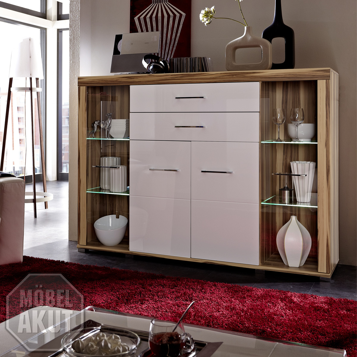 highboard zento in mdf wei hochglanz inkl led neu ebay. Black Bedroom Furniture Sets. Home Design Ideas