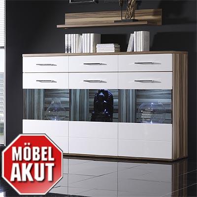 sideboard lens in wei hochglanz baltimore walnuss ebay. Black Bedroom Furniture Sets. Home Design Ideas