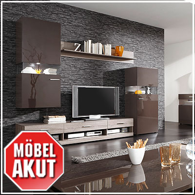 wohnwand jersey ii anbauwand schwarz braun sonoma eiche inkl led ebay. Black Bedroom Furniture Sets. Home Design Ideas