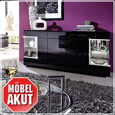 sideboard paron kommode in schwarz hochglanz strass inkl led ebay. Black Bedroom Furniture Sets. Home Design Ideas