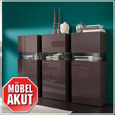 3er set vitrine jersey highboard in schwarz braun hochglanz inkl led ebay. Black Bedroom Furniture Sets. Home Design Ideas
