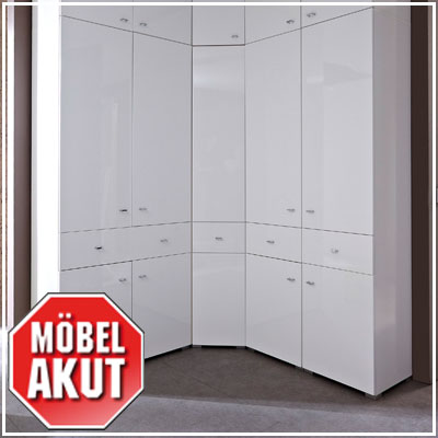 eck garderobenschrank jado garderobe schrank in wei hochglanz 65 cm ebay. Black Bedroom Furniture Sets. Home Design Ideas