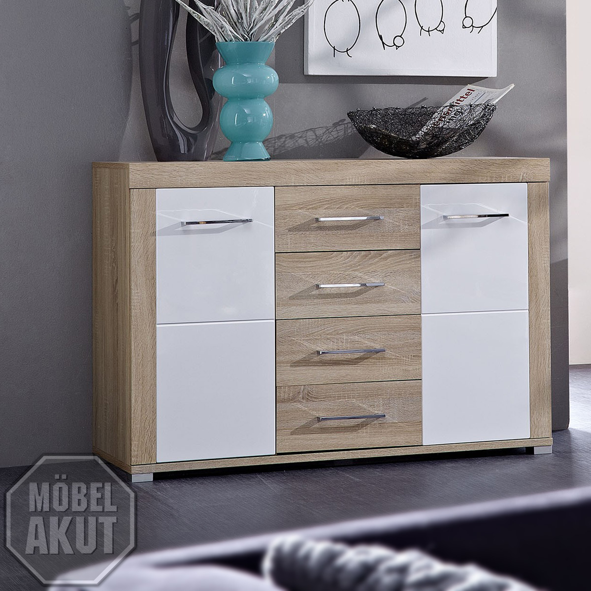 sideboard zento wei hochglanz sonoma eiche s gerau hell neu ebay. Black Bedroom Furniture Sets. Home Design Ideas
