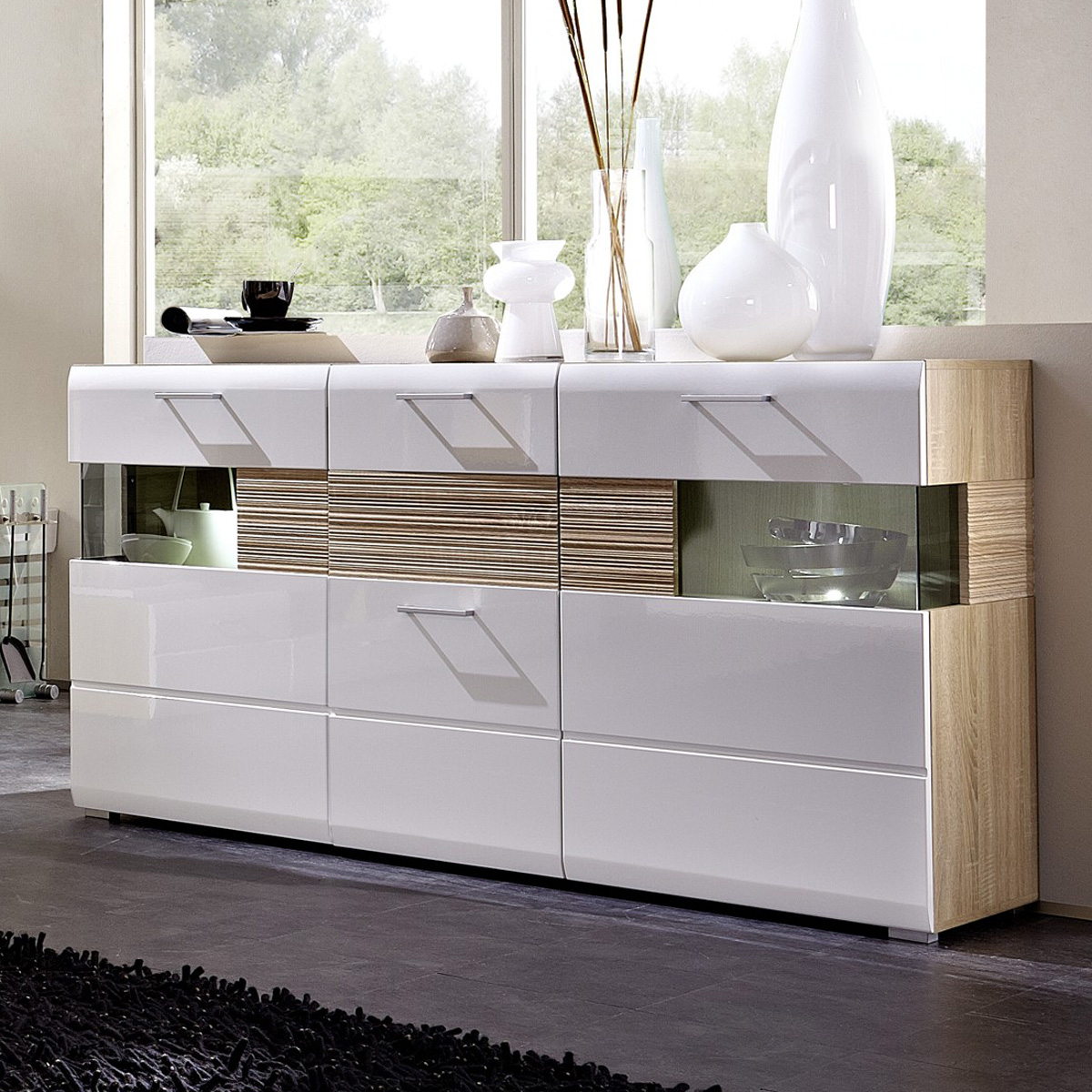 sideboard nandez kommode wei hochglanz sonoma eiche s gerau beleuchtung ebay. Black Bedroom Furniture Sets. Home Design Ideas