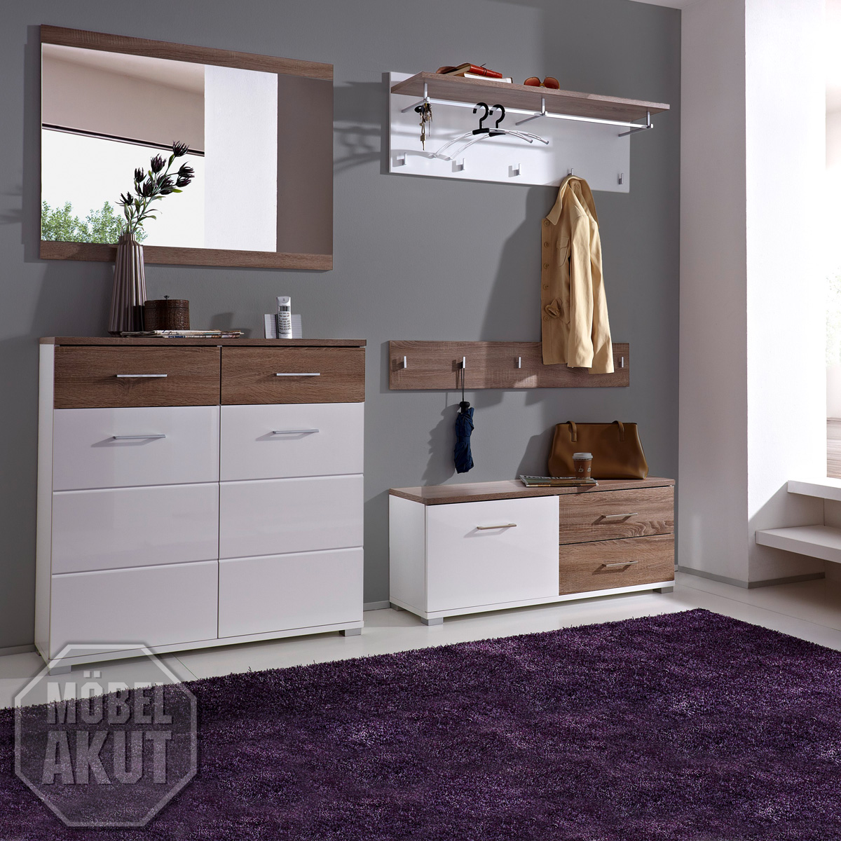 5 tlg garderobenset malo garderobe in wei hochglanz sonoma eiche s gerau. Black Bedroom Furniture Sets. Home Design Ideas