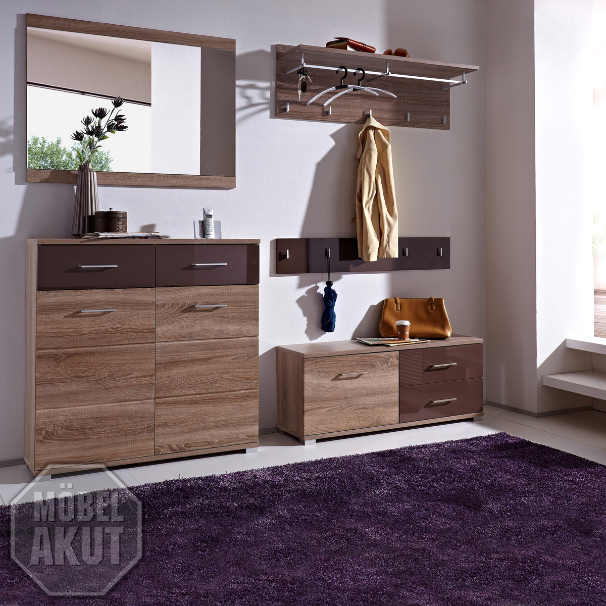 5 tlg garderobenset malo garderobe sonoma eiche. Black Bedroom Furniture Sets. Home Design Ideas