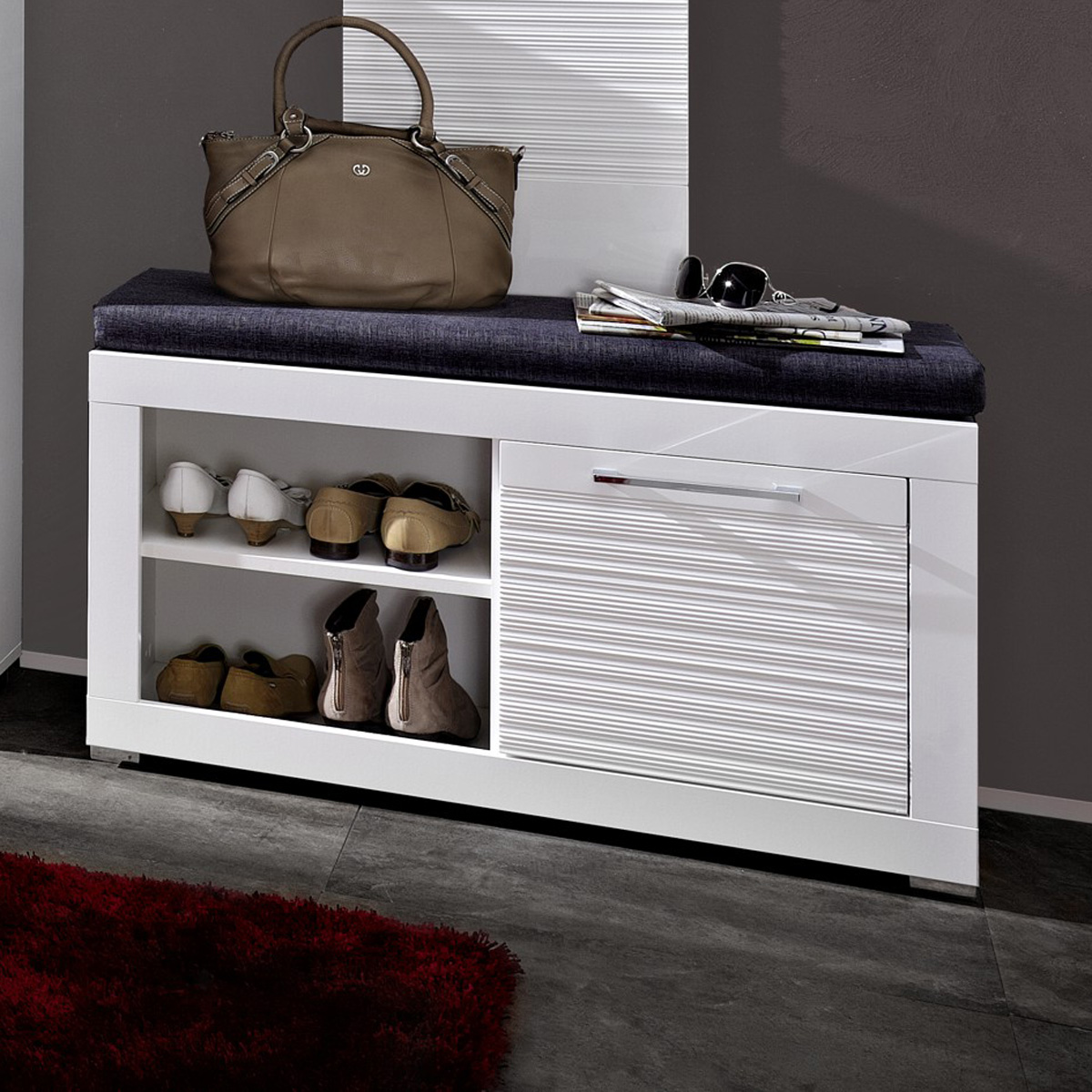 bank file sitzbank inkl sitzkissen wei hochglanz geriffelt neu ebay. Black Bedroom Furniture Sets. Home Design Ideas