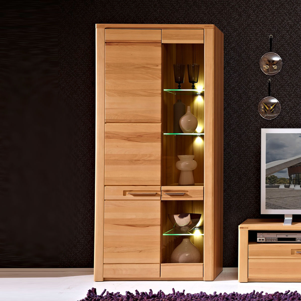 vitrine nature plus wohnzimmer hoher schrank kernbuche massiv lackiert mit led ebay. Black Bedroom Furniture Sets. Home Design Ideas