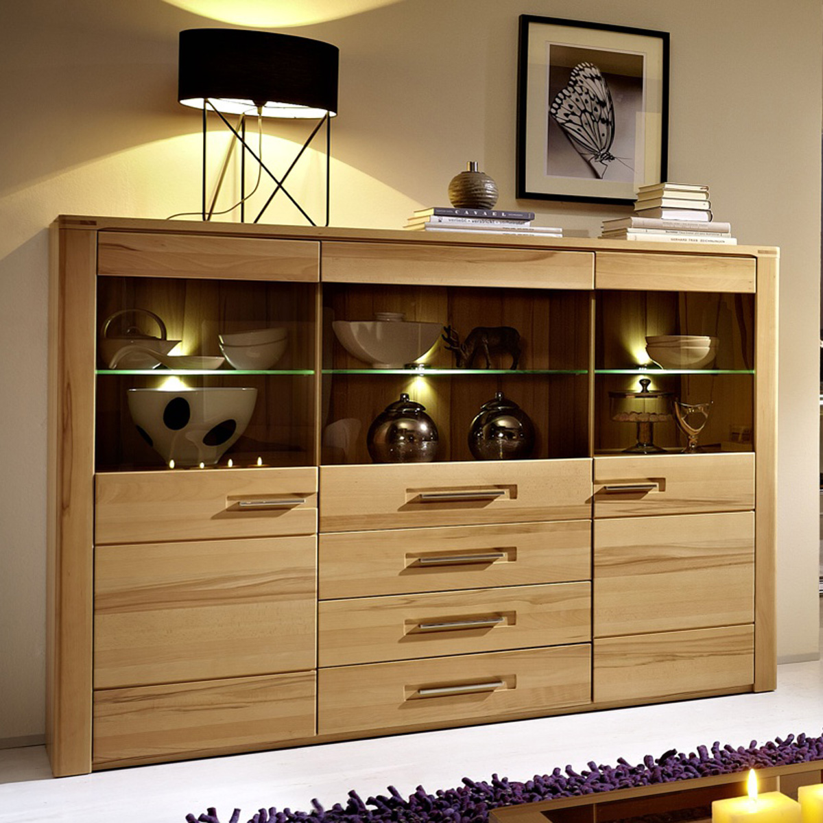 highboard pure sideboard wohnzimmer kernbuche inkl led neu ebay. Black Bedroom Furniture Sets. Home Design Ideas