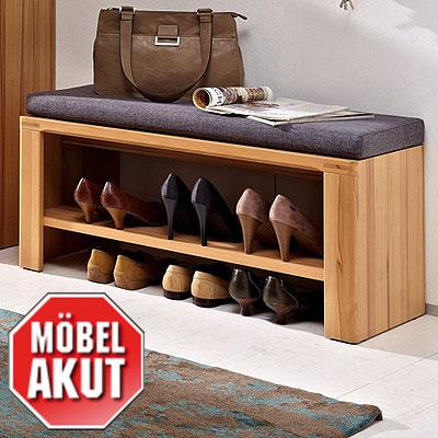 bank pure garderobe inkl sitzkissen kernbuche massiv neu ebay. Black Bedroom Furniture Sets. Home Design Ideas