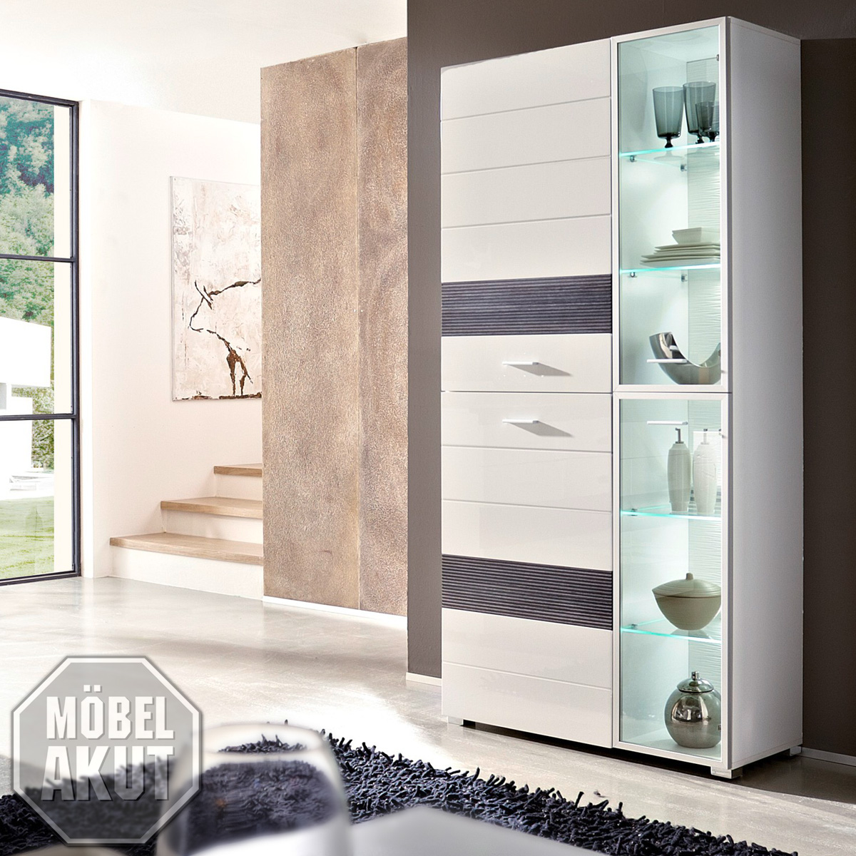 vitrine orion schrank wei hochglanz wei geriffelt inkl led neu. Black Bedroom Furniture Sets. Home Design Ideas