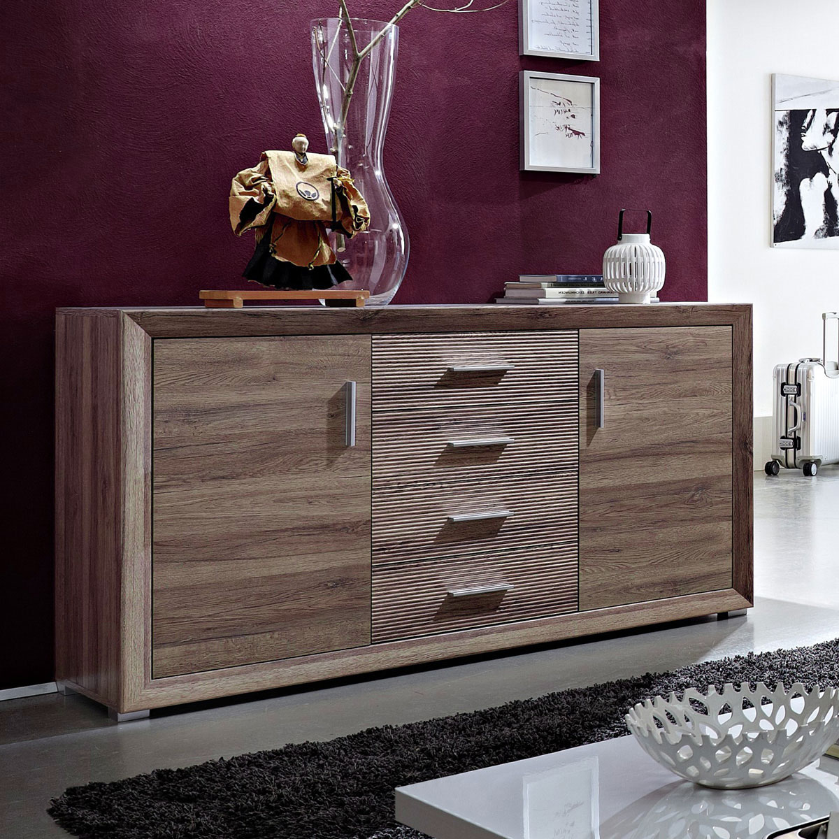 sideboard gota kommode san remo eiche geriffelt neu ebay. Black Bedroom Furniture Sets. Home Design Ideas