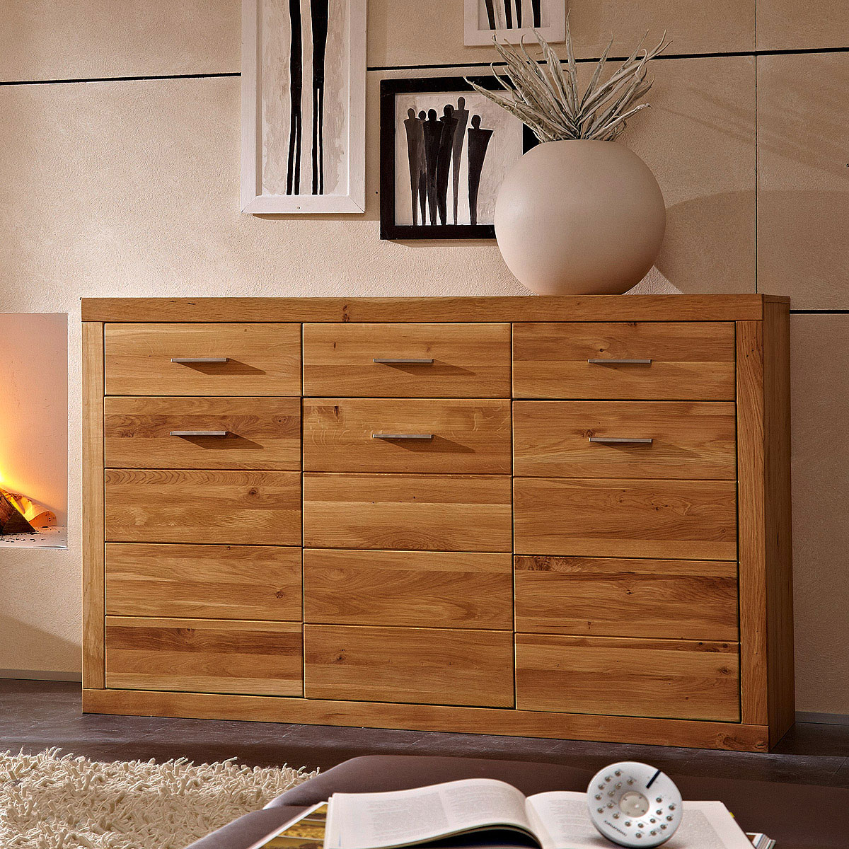 sideboard pur kommode anrichte in wildeiche massiv 3 t rig ebay. Black Bedroom Furniture Sets. Home Design Ideas
