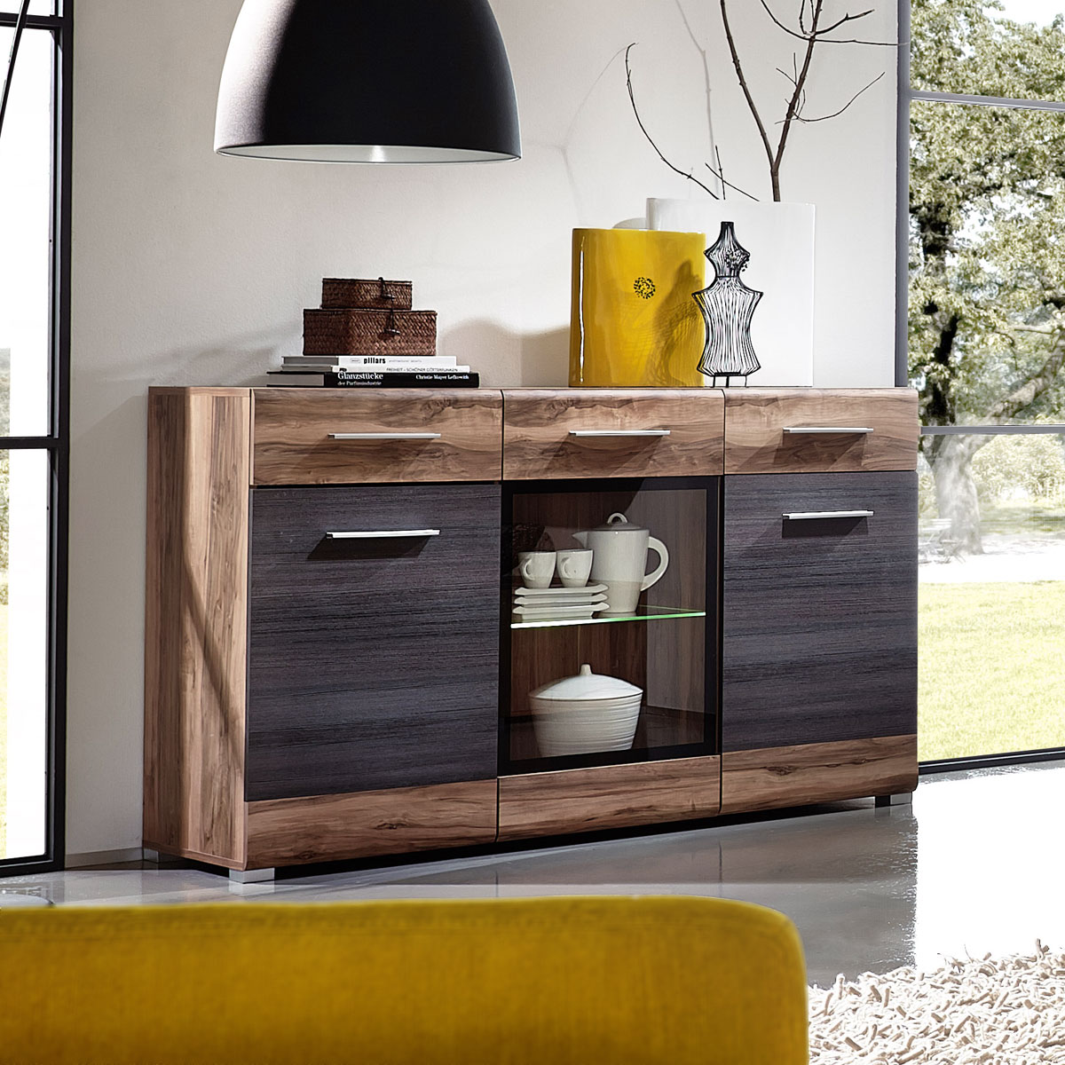 sideboard heat kommode anrichte nussbaum satin pinie dunkel touchwood led ebay. Black Bedroom Furniture Sets. Home Design Ideas