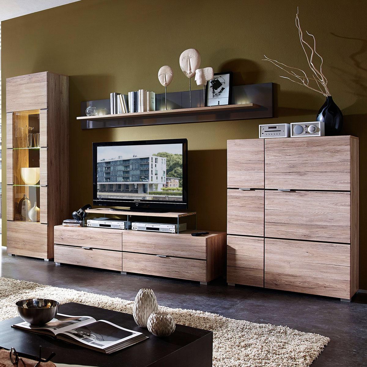 Wohnwand mit sideboard eiche bianco teilmassiv ge lt und for Wohnwand sideboard
