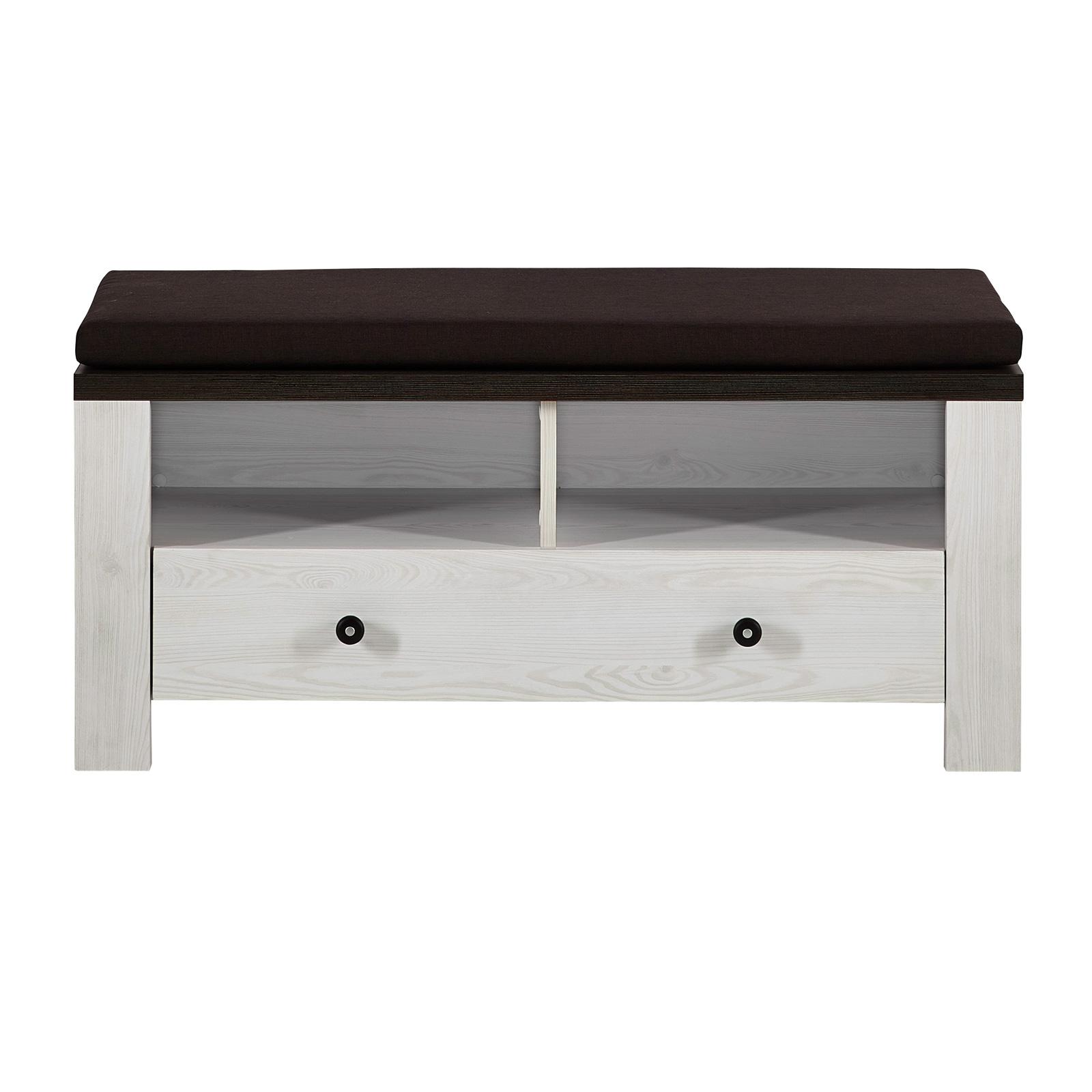 sitzbank antwerpen in l rche pinie dunkel mit sitzkissen schuhbank garderobe ebay. Black Bedroom Furniture Sets. Home Design Ideas