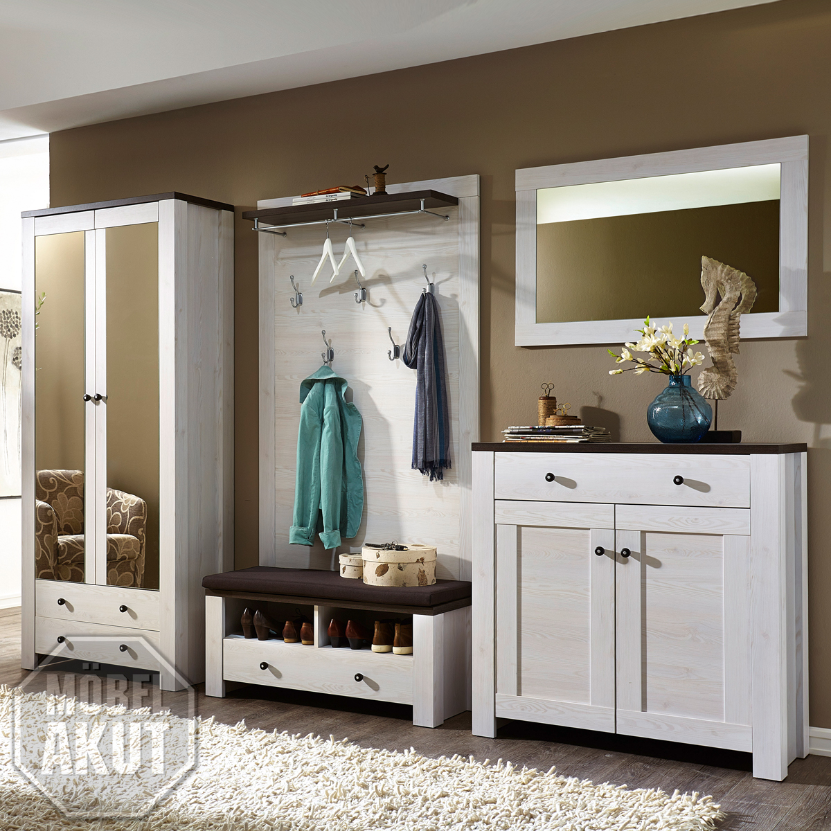 garderobe antwerpen set 1 dielenschrank schuhschrank l rche weiss pinie dunkel ebay. Black Bedroom Furniture Sets. Home Design Ideas