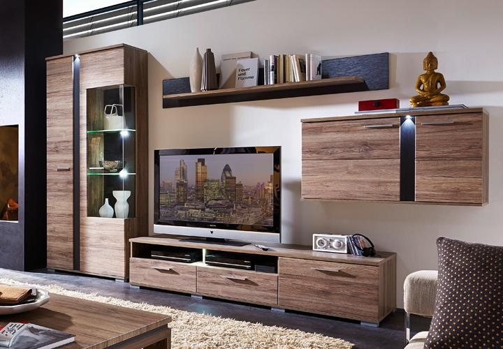wohnwand spot 2 anbauwand wohnzimmer san remo eiche und schiefer mit led eur 559 95 picclick de. Black Bedroom Furniture Sets. Home Design Ideas