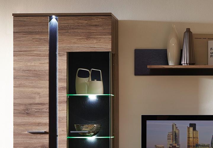 WOHNWAND SPOT 2 Anbauwand Wohnzimmer San Remo Eiche und Schiefer mit LED - EUR 559,95  PicClick DE