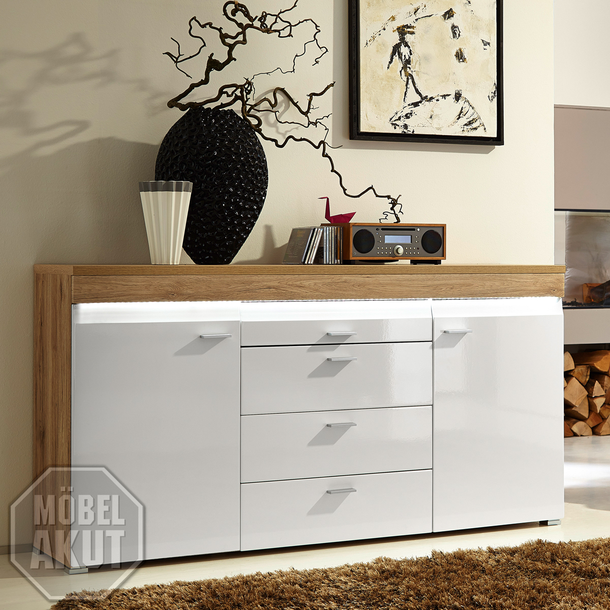 sideboard casa wohnzimmer schrank in hochglanz weiss und san remo eiche hell ink ebay. Black Bedroom Furniture Sets. Home Design Ideas
