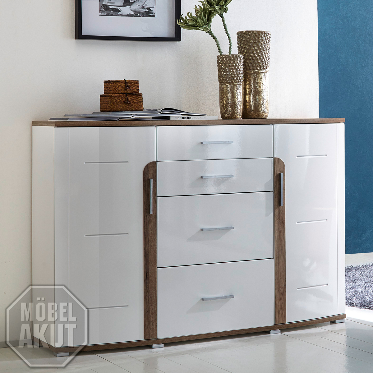 sideboard spin wohnzimmer schrank in hochglanz weiss und san remo eiche dunkel. Black Bedroom Furniture Sets. Home Design Ideas