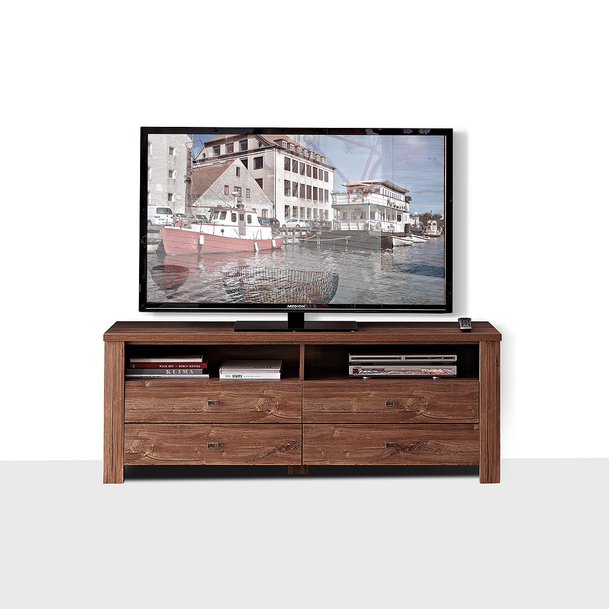 tv board br ssel tv unterteil tv unterschrank lowboard in akazie dunkel ebay. Black Bedroom Furniture Sets. Home Design Ideas