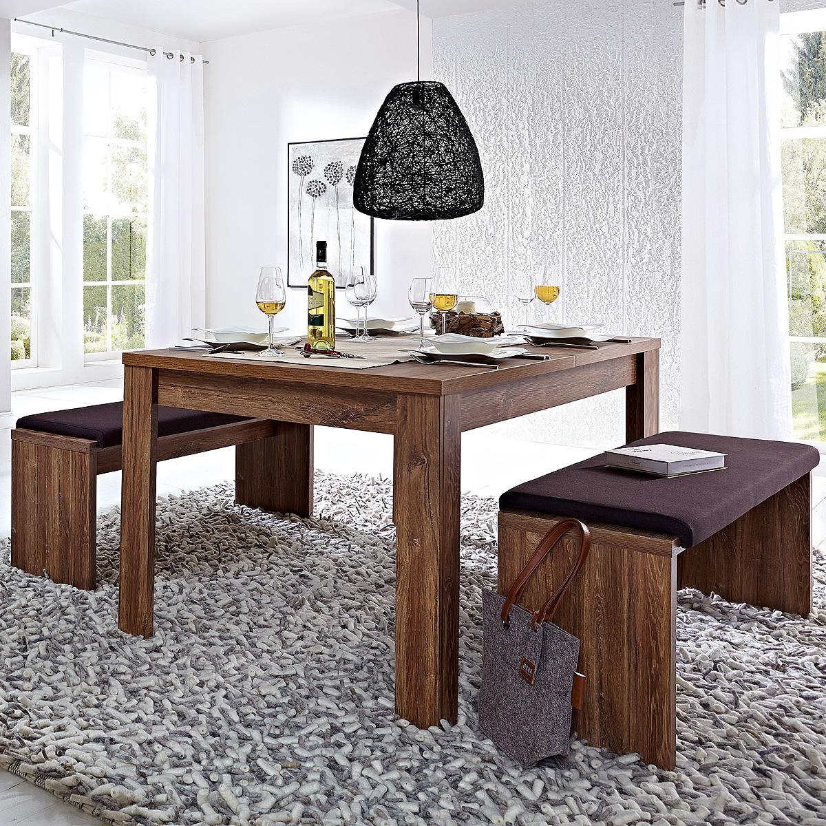tischgruppe br ssel esszimmerset tisch bank inkl polster in akazie dunkel ebay. Black Bedroom Furniture Sets. Home Design Ideas