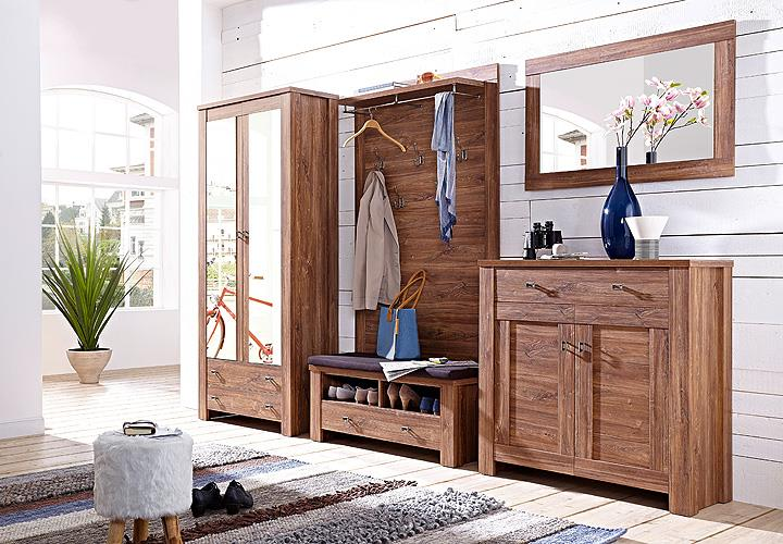 garderobenschrank br ssel garderobe schrank flurm bel mit spiegel akazie dunkel ebay. Black Bedroom Furniture Sets. Home Design Ideas