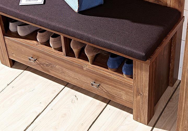 bank br ssel sitzbank schuhbank in akazie dunkel inkl. Black Bedroom Furniture Sets. Home Design Ideas
