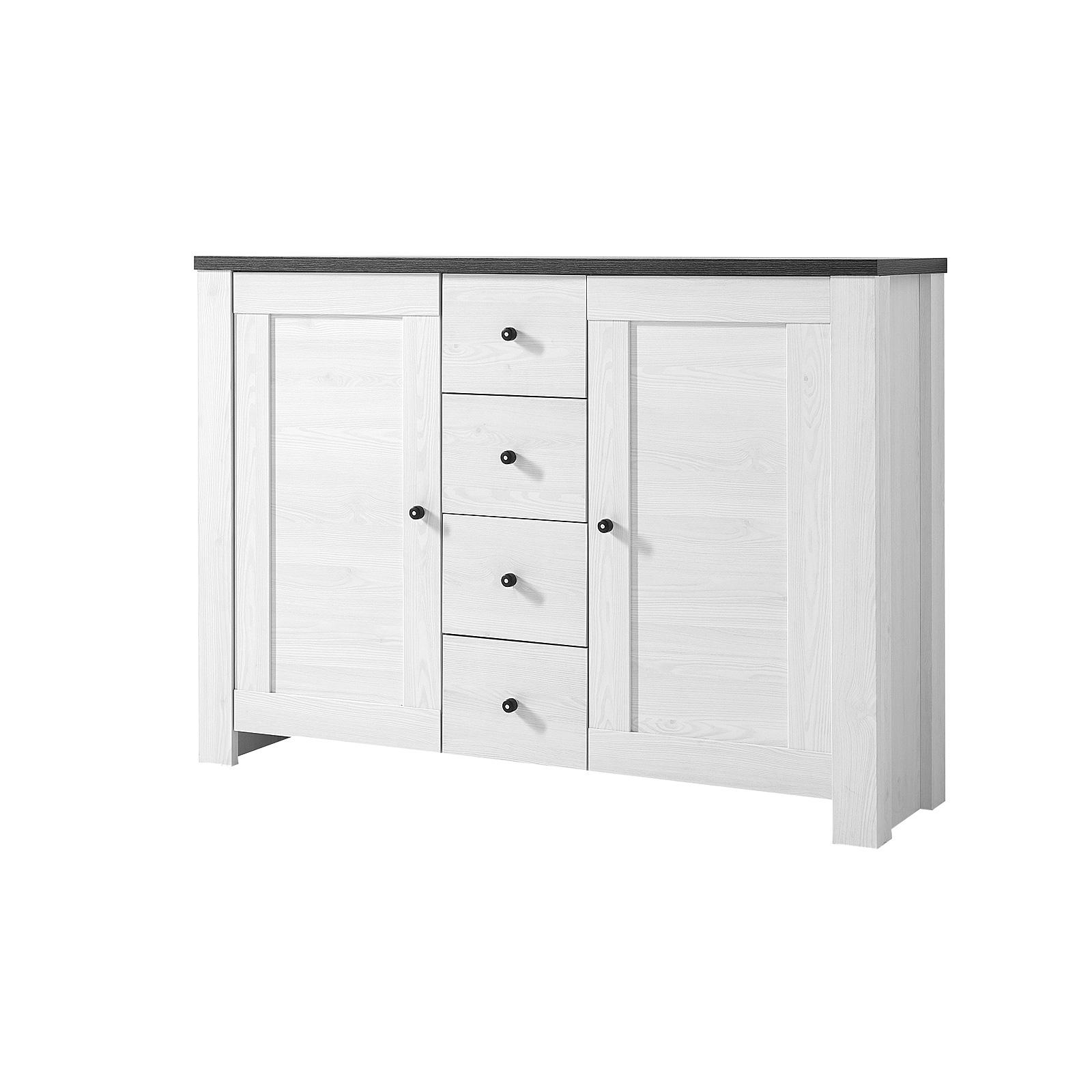 kommode 3 antwerpen sideboard anrichte in l rche und pinie dunkel ebay. Black Bedroom Furniture Sets. Home Design Ideas