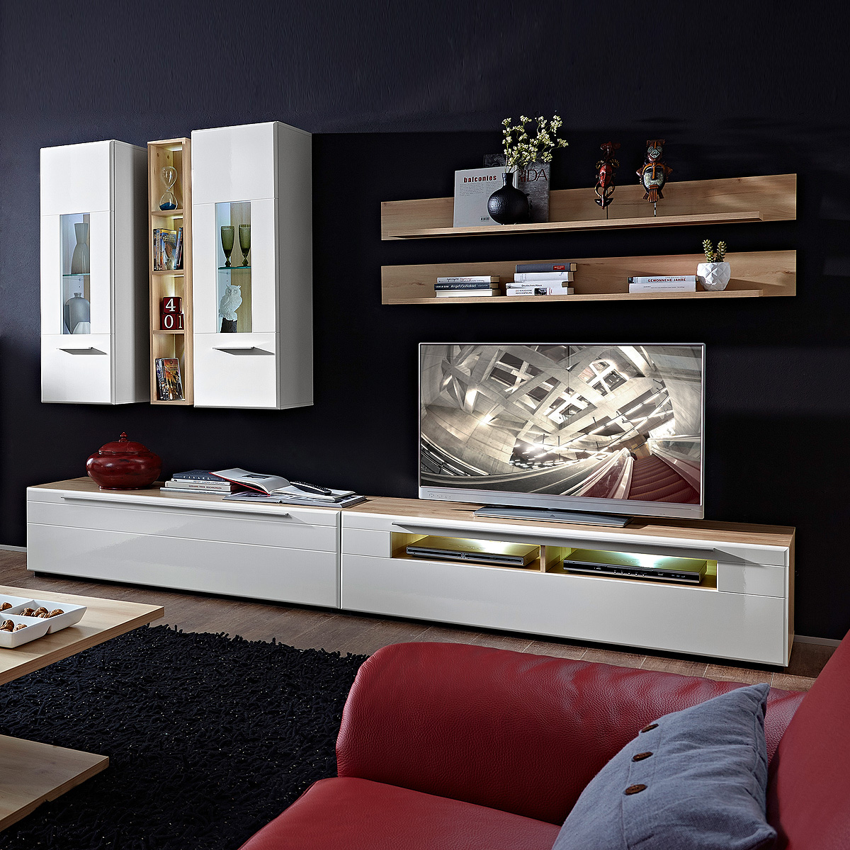 wohnwand nussbaum hell. Black Bedroom Furniture Sets. Home Design Ideas