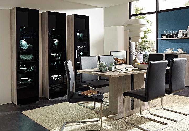 esstisch blacklight tisch esszimmertisch silbereiche schwarzglas 160 ebay. Black Bedroom Furniture Sets. Home Design Ideas