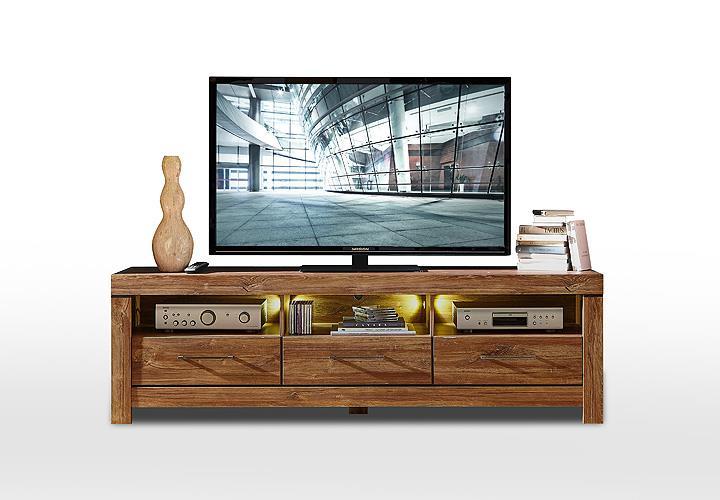 tv board gent lowboard unterschrank fernsehschrank in akazie dunkel inkl led ebay. Black Bedroom Furniture Sets. Home Design Ideas