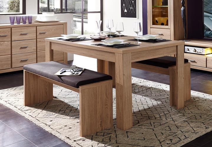 tischgruppe l ttich tisch ausziehbar sitzbank inkl klemmkissen eiche hell ebay. Black Bedroom Furniture Sets. Home Design Ideas