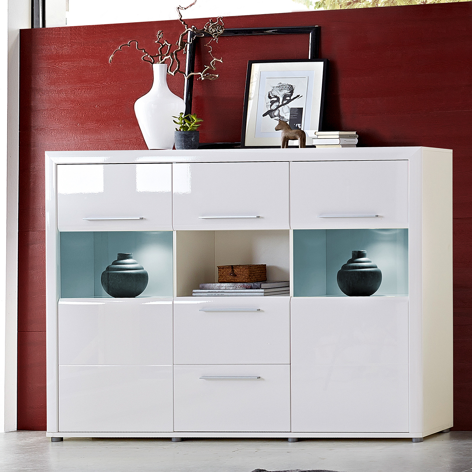 highboard run vitrine schrank wohnzimmerschrank in wei hochglanz inkl led ebay. Black Bedroom Furniture Sets. Home Design Ideas