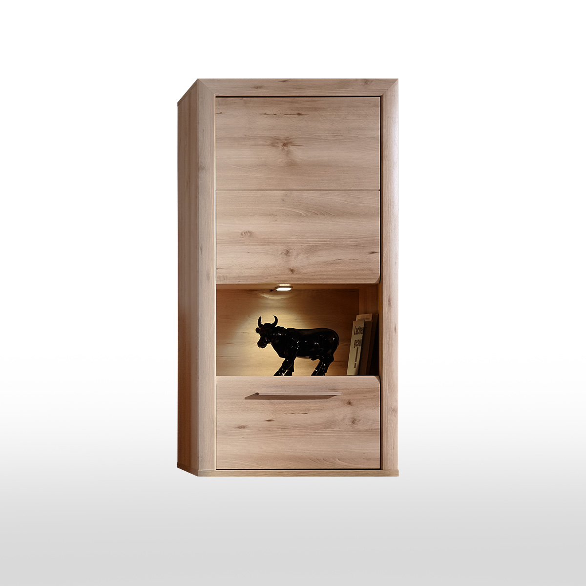h ngevitrine run h ngeschrank h ngeelement vitrine schrank buche hell inkl led ebay. Black Bedroom Furniture Sets. Home Design Ideas