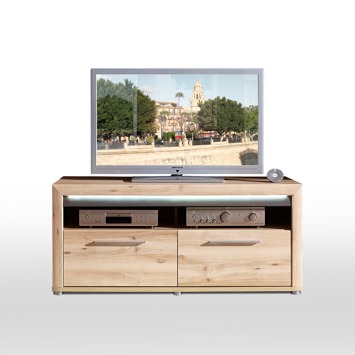 tv board run lowboard unterschrank fernsehschrank in buche. Black Bedroom Furniture Sets. Home Design Ideas