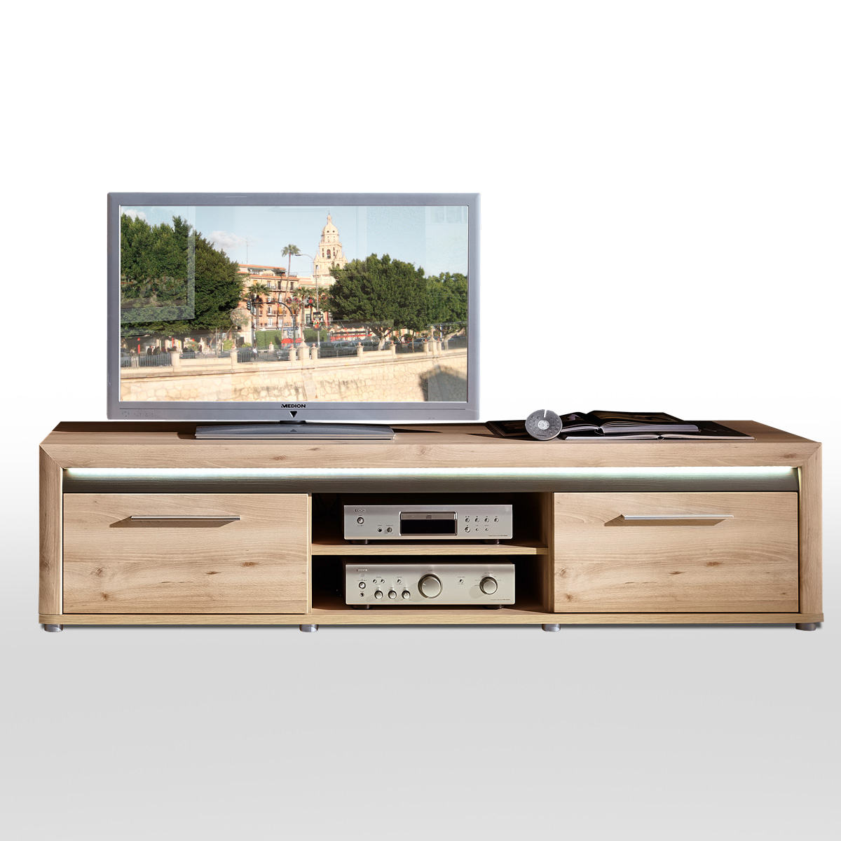 tv board run unterschrank lowboard fernsehschrank in buche. Black Bedroom Furniture Sets. Home Design Ideas