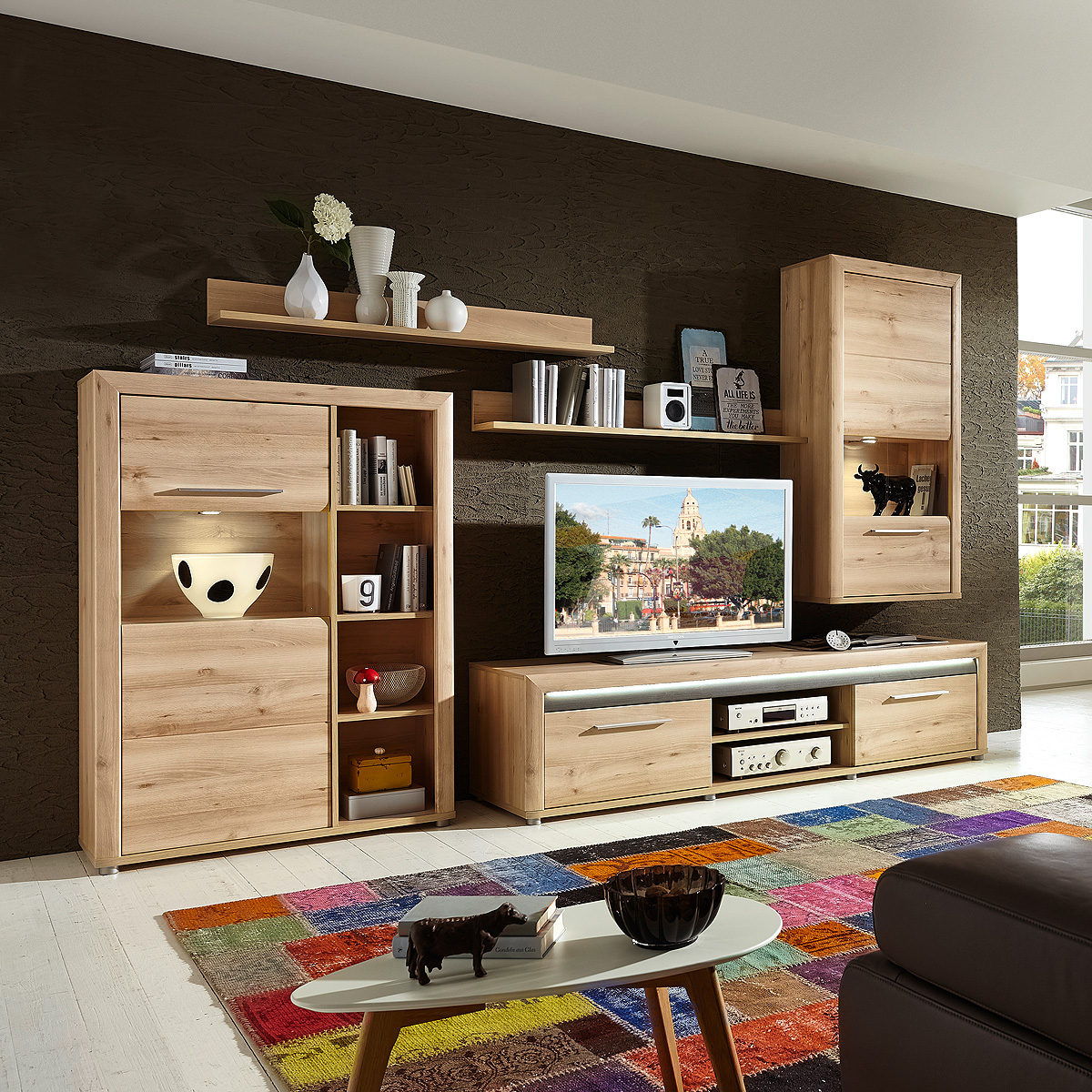 wohnwand 1 run anbauwand wohnkombi wohnzimmer in buche hell inkl led ebay. Black Bedroom Furniture Sets. Home Design Ideas