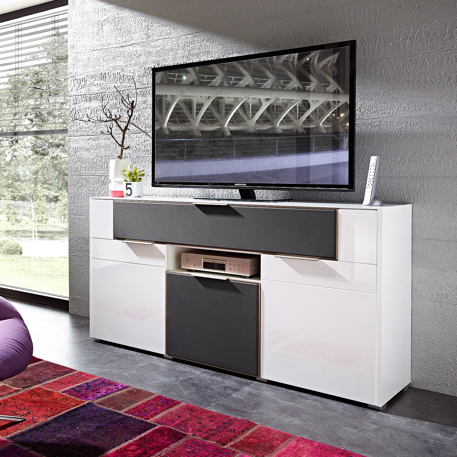 media sideboard median mediaboard kommode in wei hochglanz und grau ebay. Black Bedroom Furniture Sets. Home Design Ideas