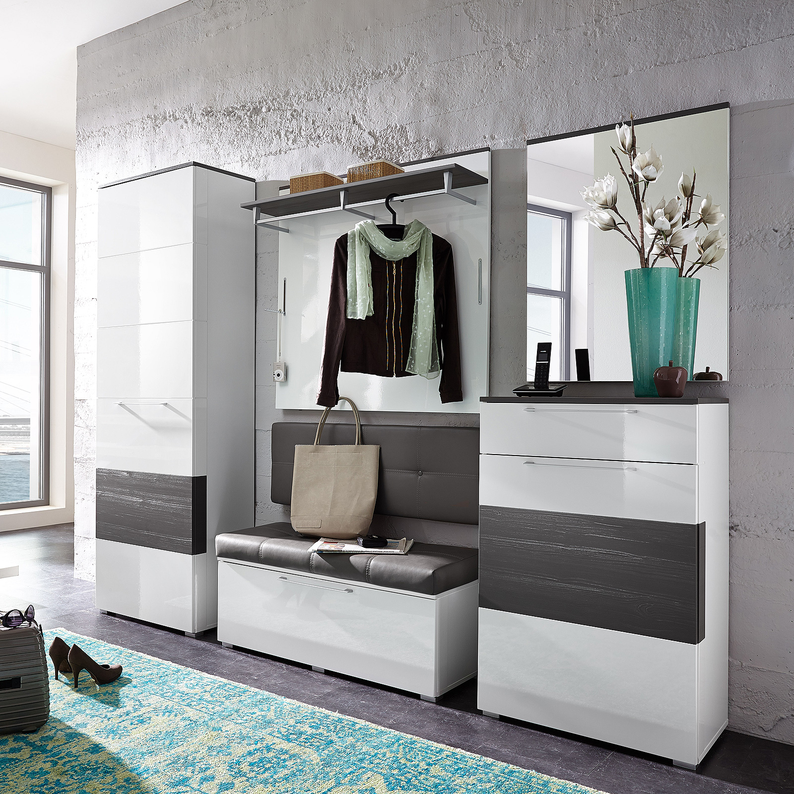 garderobenset reno garderobe schrank bank spiegel in wei hochglanz und grau ebay. Black Bedroom Furniture Sets. Home Design Ideas