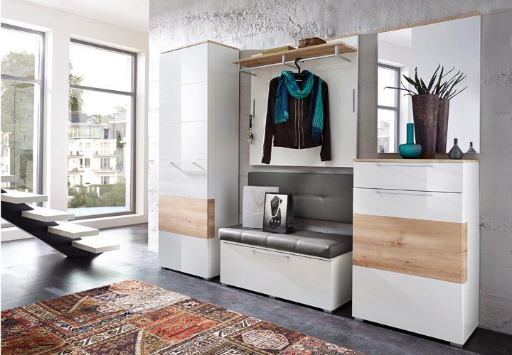 Garderobenset reno garderobe schrank bank spiegel in wei for Garderobe romance
