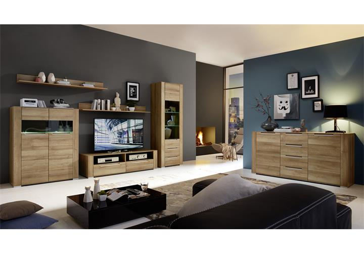 sideboard dinaro kommode anrichte wohnzimmer schrank in eiche hell 170 cm breit. Black Bedroom Furniture Sets. Home Design Ideas