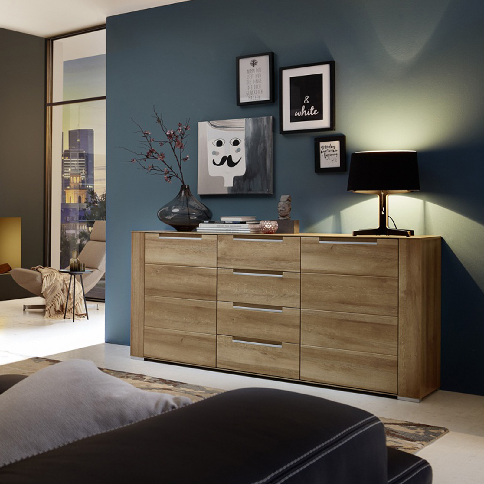sideboard dinaro kommode anrichte wohnzimmer schrank in eiche hell 170 cm breit ebay. Black Bedroom Furniture Sets. Home Design Ideas